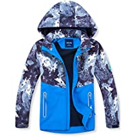 YILLEU Boys Girls Rain Jackets Waterproof Windbreakers Hooded Coats with Fleece Lightweight Raincoats for Kids