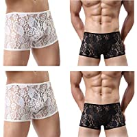 cool nik Men's Comfortable Breathable Underwear 3-4 Pack Nylon Stretchable Sexy Low Rise Thong Panties