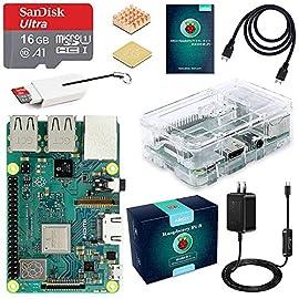 ABOX Raspberry Pi 3 Model b+ ラズベリーパイ 3 b+ MicroSDHCカード16G/NOOBSシステムプリインストール/カードリーダ/簡単に取り付けクリアケース/ 5V/3A スイッチ付電源/高品質HDMIケーブルライン/ヒートシンク/日本語取扱説明書/24ヶ月保証