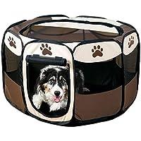 ペットサークル 折り畳み式 W ファスナー搭載 持ち歩き簡単 愛犬 猫 通気性 来客時 アウトドア ペット 2サイズ TEC-PETCIRD (Sサイズ)