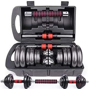FIELBELL ダンベル 鉄アレイ アジャスタブル 10kg/20kg/40kg/50kg ダンベル セット コネクションチューブ(延長用シャフト)があるとバーベルとなる (B7 Red 10KG*2/収納ケース付き)