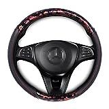 Copap(コーパープ)ハンドルカバー 自動車 直径:38cm グリップデザイン 赤花柄 かわいい 女性向き ステアリングホイルカバー