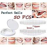 50ピース/セット上歯+下歯セット歯ブレースデンタルスリーブ保護シリコン歯ホワイトニング歯カバー歯補正器完璧な笑顔シミュレーションボックス
