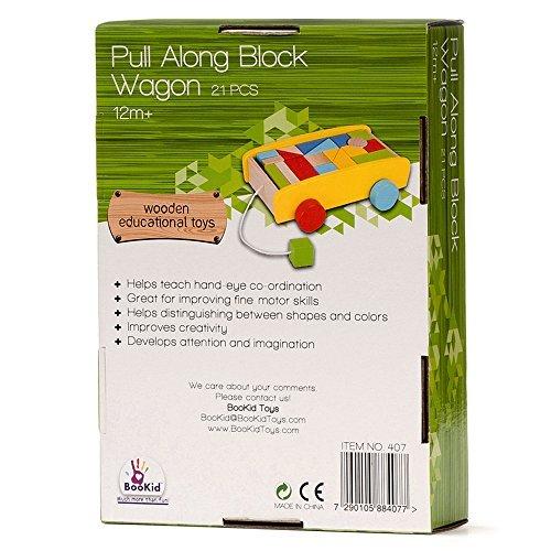 BooKid耐久性とカラフルな木製ブロックワゴンおもちゃfor Toddlers–Includes 20ブロック並べ替えのスタッキング、、、カウントして、建物
