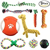 OKPOW 9 Pack Dog Toy Set, Most Durable Chew Rope Toys, Carrot Cotton Rope, Toy Tug of War, Dog Frisbee