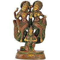 ガンジスインディアLord Lakshmi Narain Seated on Garuda – 真鍮Statue