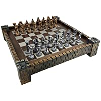 Medieval Times Knight Antique Gold and Silver Color Pewter Chess Set W/ 17
