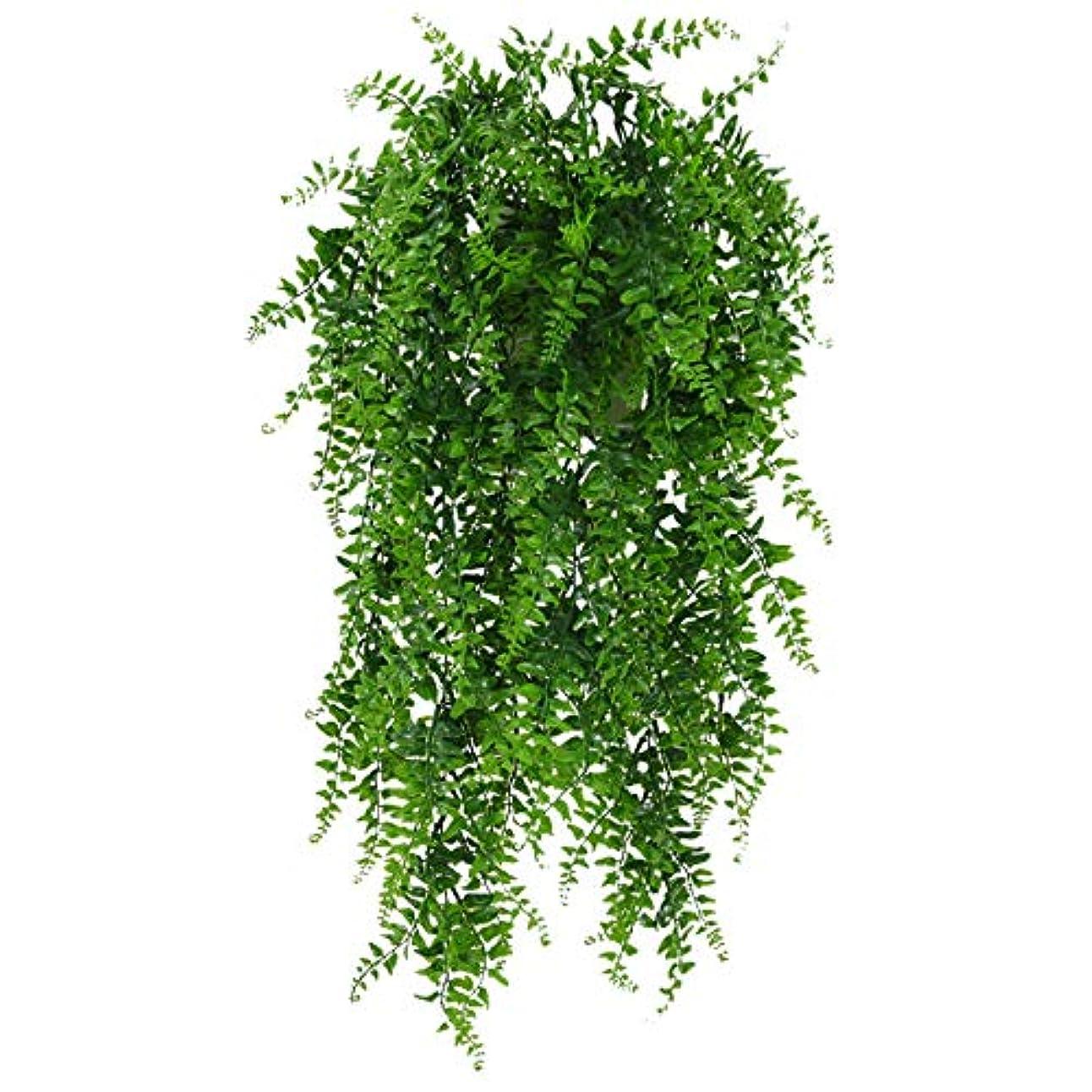 芸術的アルコールその結果人工観葉植物 壁掛け フェイクグリーン インテリア飾り 枯れないグリーン アイビー 吊りのインテリア飾り人工植物 飾り 植物装飾 葉 藤 緑 ホーム オフィス ベランダ ガーデン パーティー 結婚式 (緑, 全長: 85cm)