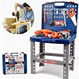 Toy Tool Workbench for Kids Pretend Play - Construction Workshop Toolbench STEM Building Toys with Realistic Tools and Electr
