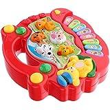 Fenteer プラスチック ハンドル付き ピアノおもちゃ 楽器おもちゃ 子供 ミュージカルおもちゃ 贈り物 全2色 - 赤