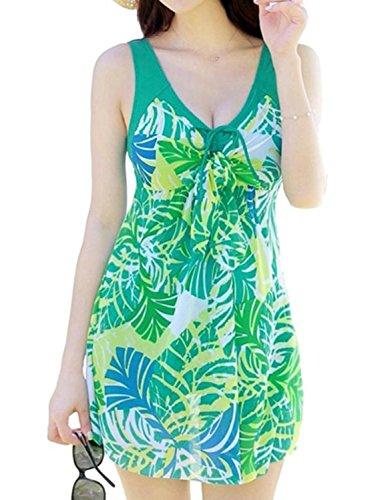[笑顔一番]レディース水着体型カバーワンピースパンツ付き可愛い花柄大きいサイズストレッチマタニティ[A208-11](2XL,グリーン緑)