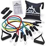Black Mountain Products Resistance Band Set with Door Anchor, Ankle Strap, Exercise Chart and Carrying Case, 5 M