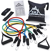 Black Mountain Products Resistance Band Set With Door Anchor, Ankle Strap, Exercise Chart, And Carrying Case, 5 M