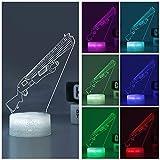 3D砦ランプバトルバスRGBムードランプ7色ライトベースアクリルステレオイリュージョンLEDテーブルベッドサイドランプ (ポンプアクション散弾銃のクラックルベース)