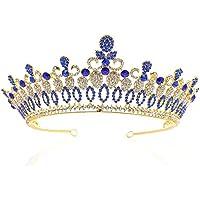 Stylish and Elegant Bleu/Rouge Strass Cristal Reine Noiva Diadem bijoux de cheveux mariée diadèmes et couronnes mariée Mariage cheveux accessoires JL wsd (Couleur du métal : Blue)