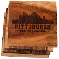 Engraved Pittsburgh , Pennsylvania Coasters ( Set of 4 )