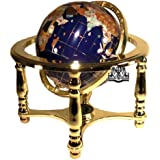 Unique Art 10-Inch Tall Table Top Blue Lapis Ocean Gemstone World Globe with 4 Leg Gold Stand