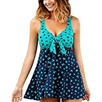 Swimwear Guesthome Women, High Waist Butterfly Print Tankini Sets with Boy Shorts Strap Bikini Set