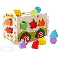 NEEDOON 木製 形合わせ おもちゃ バス 13種類のカラフルな形 知育玩具 幼児の形 お揃いの色認識