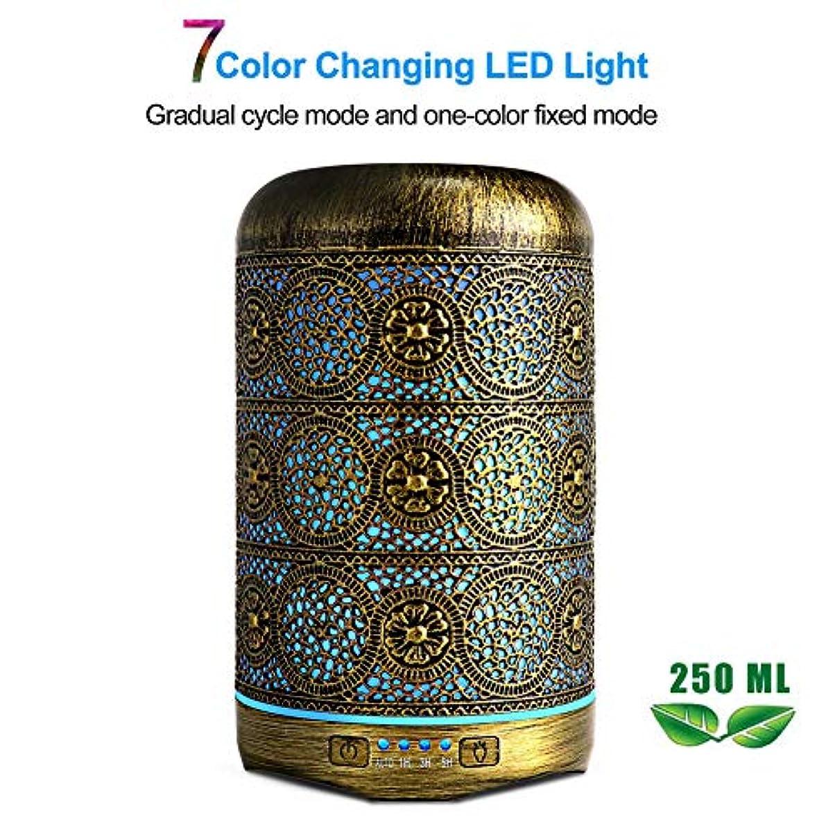 究極の吸い込む永遠の250mlエッセンシャルオイルディフューザーアロマディフューザー、4色のオイルディフューザー加湿器を備えた7色のナイトライトと自動シャットオフ