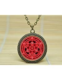 Sunshine DayファッションネックレスFull Metal Alchemist Transmutation円ネックレスAlchemistレッド円Pendantglass Cabochonネックレスa3705