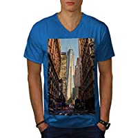 Wellcoda 都市 大都市 NYC 男性用 ロイヤルブルー L リンガーTシャツ