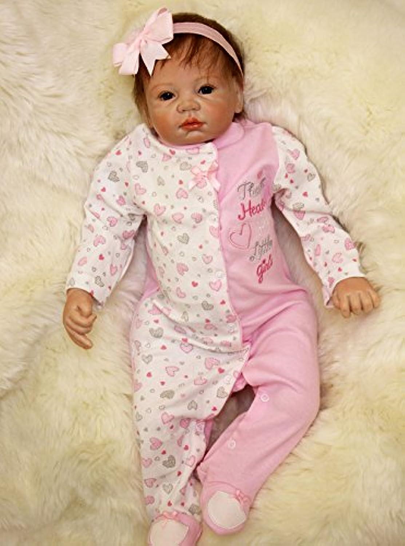 Rooted Mohair Baby Dolls Lifelike Reborn Newborn Girl Look Real Womens Nursery Toys,22-Inch