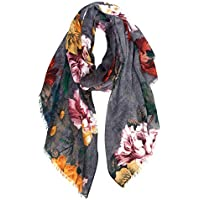 GERINLY Gorgeous Peony Print Shawl Scarf For Women Cozy Wrap