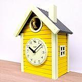日本製 さんてる 北欧カラー 鳩時計 イエロー・QL694YE