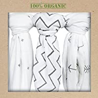 Organic Muslin Swaddle Blankets, Get the Safe & Soft Cuddly Feel, and Bib Gift. by Newborn Baby