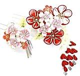 髪飾り 2点セット wk-292 かんざし つまみ細工 花 和柄 赤 ピンク(成人式 卒業式 結婚式 和装)古典 モダン