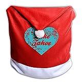 クリスマス 座椅子カバー 背部用 タホ湖 好き ダイニングチェア サンタ帽 シート 椅子 カバー 背もたれカバー クリスマス プレゼント クリスマスツリー 飾り プリント サンタの必需品 クリスマス限定