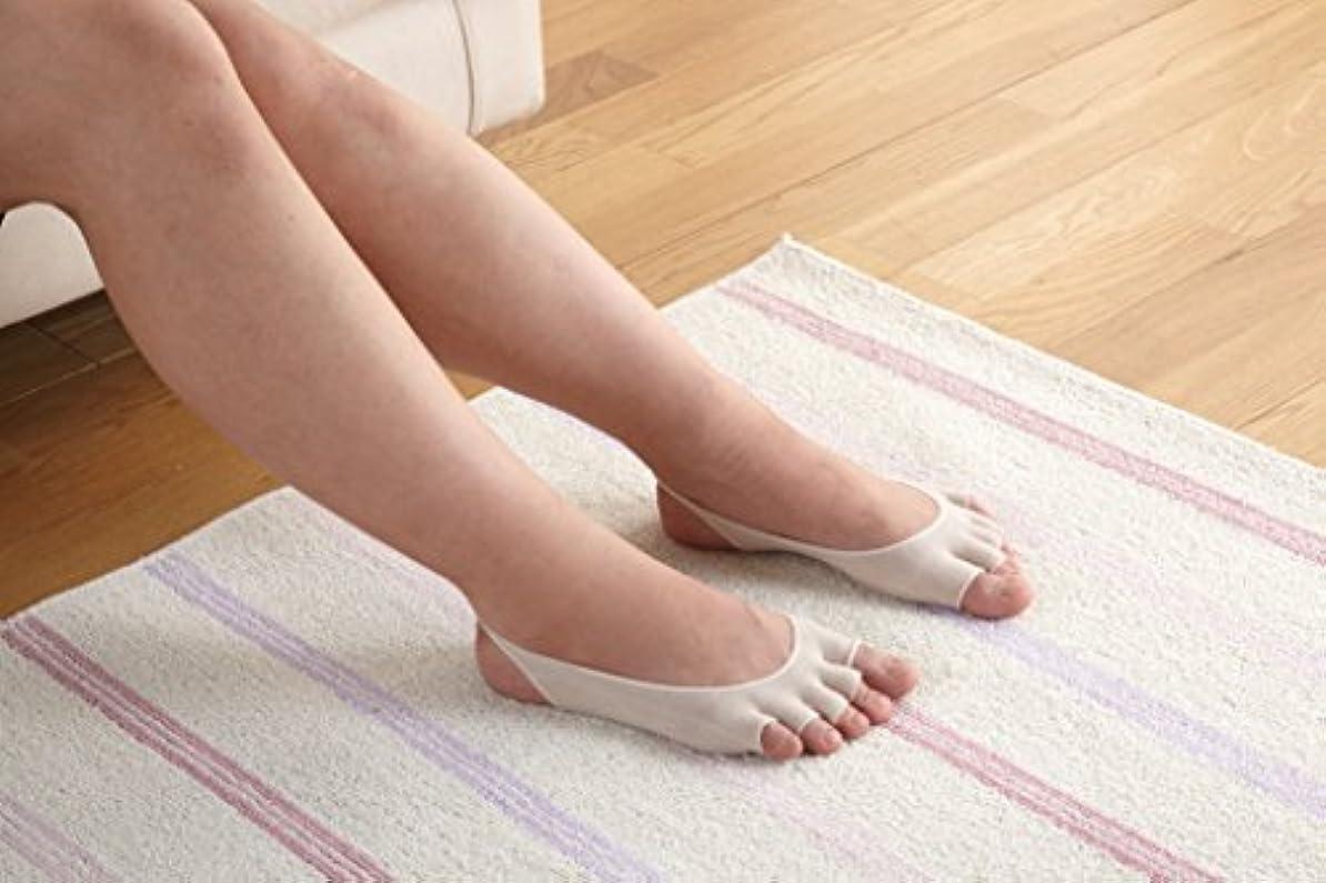 脱げない5本指カバー 綿100の糸 抗菌防臭糸使用 足裏 汗対策 ベージュ 2足組 太陽ニット 3252P