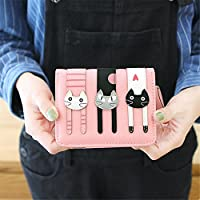 猫のステッチ写真の女性の短い財布 (ピンク)