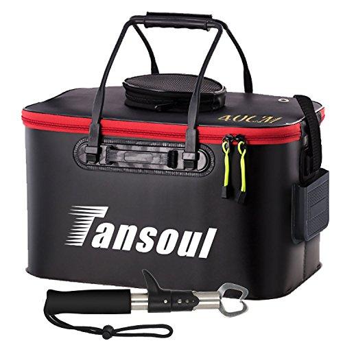 Tansoul バッカン 釣り バケツ 折りたたみ 40cm フィッシュグリップ付き 魚掴み器 釣り具 アウトドアに最適