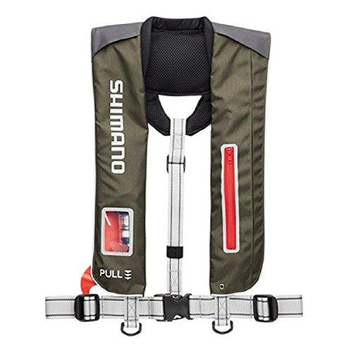 シマノ(SHIMANO) ライフジャケット サスペンダー 自動膨張 VF-051K 釣り 救命胴衣 カーキチャコール (国土交通省認定品) フリーサイズ