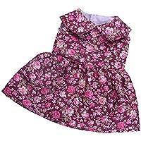 Lovoski 人形用 ガール かわいい 袖なし スカート ドレス 花柄 服装 18インチ アメリカ人形適用 全5色選ぶ  - 02