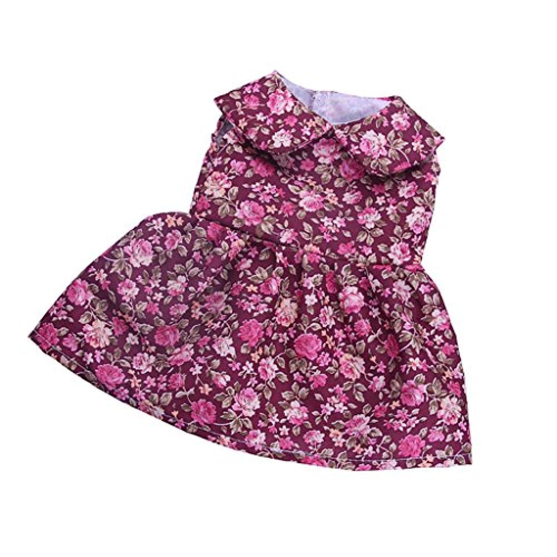 Dovewill 全5色 18インチ アメリカ人形対応 ドール用 ガール 素敵 花柄 布製 ノースリーブ スカート ドレス 服 - #2