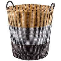 汚れた服の保管用バスケット、折りたたみ式防水ベルト柄籐 (色 : Brown gray beige)