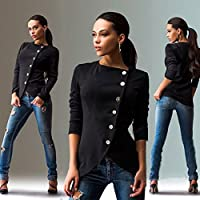 Women's Black Long Sleeve Jacket Slim Buttons Sweater Casual Coat Outwear Tops