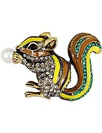 Perfk 全3色 特別な宝石 衣類付属品 ブローチピン キルトピン タイピン 襟ピン ユニセックス キッズ パーティー 宴会 ジュエル 1個 - イェロー