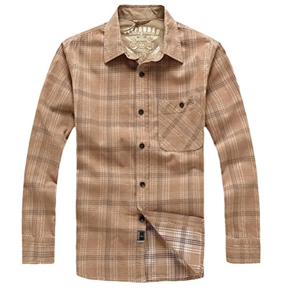 発生器夜明け土輝姫 ブラウス メンズ 長袖 チェック Tシャツ ファッション カジュアル ゆったり トップス  ボタン (3XL, カーキー)