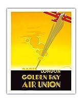 ロンドンパリ - ゴールデン線 - 航空連合、フランスの航空会社 - ビンテージな航空会社のポスター によって作成された エドモンド・マウルス c.1929 - アートポスター - 41cm x 51cm
