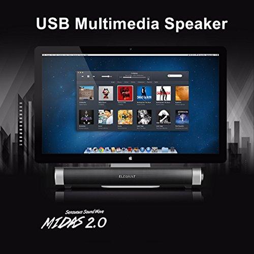 ELEGIANT 高音質 サウンドバースピーカー SoundBar Speaker ステレオスピーカー USB接続