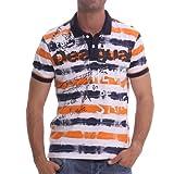 [XL・XXL・3XL]DESIGUAL(デシグアル) 半袖ポロシャツ(Bobby) 42l1711 大きいサイズ メンズ【7015.ネイビー×オレンジ-XL】