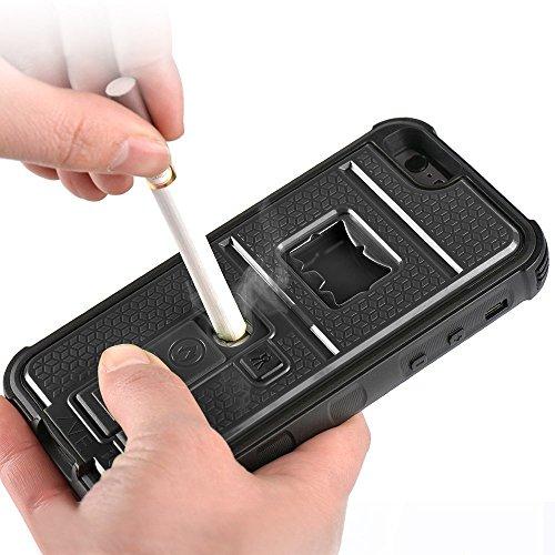 ZVE iPhone6 ケースiPhone6s ケース ライター 栓抜き カメラ三脚機能付きケース アイフォン6s 4.7インチ 耐衝撃カバー(ブラック)