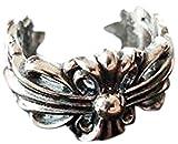 925シルバー 925 silver シルバー クロムハーツ風 フリーサイズ 小 キーパーリング フローラルリング 6g (シルバー)