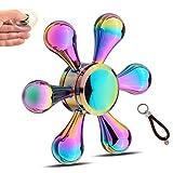 指スピナー ハンドスピナー 貝殻の虹色 水滴状  Hand Spinner 取り外し可能 高速回転 2~5分平均スピン フォーカス玩具 ストレス解消 セラミックのボールベアリング (レインボー)