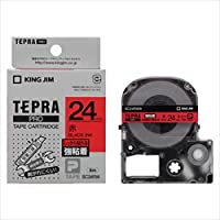 キングジム:「テプラ」PRO SRシリーズ専用テープカートリッジ 強粘着ラベル 8m 赤 黒文字 24mm幅 SC24RW 20708