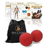 5BILLION マッサージボール ピーナッツ - ダブルラクロスマッサージボール & モビリティボール物理療法のための-ディープティッシュマッサージツール筋リリース、筋リラクサー、ツボマッサージ(レッド)